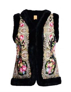 Женский жилет в русском стиле покрытый платком, черный - фото 10850