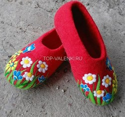 """Цветные валяные тапочки на подошве """"Букет"""" - фото 10896"""
