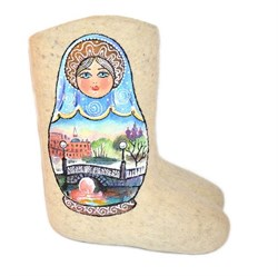 """Валенки с росписью """"Матрешка Питерские мосты"""" ручной работы - фото 11832"""