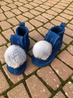 Валеши войлочные на подошве синие с меховой опушкой - фото 11924