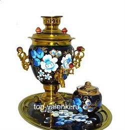 Самовар электрический, 3л, роспись Цветы(Жостово), в наборе с чайником и подносом - фото 6498