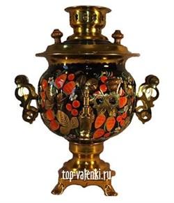 Самовар электрический роспись Клубника хохлома, 3л, форма овал - фото 6745