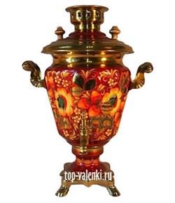 Самовар электрический роспись Цветы(Хохлома), 3л,  форма рюмка - фото 6747