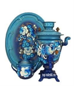 """Самовар электрический, 3 л, форма рюмка,в наборе,  роспись """"Синяя птица"""" - фото 6757"""