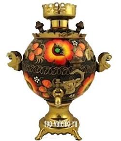 Самовар электрический с цветочной росписью, 3л,  форма шар,  - фото 6781