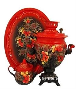 """Самовар электрический, 3л,  форма желудь, роспись """"Красная рябина"""", в наборе - фото 6806"""