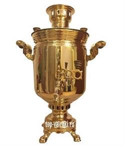 Латунный самовар угольный (жаровый), объем 7 л, форма банка, арт. а-0001 - фото 6851