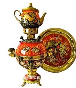 """Самовар электрический, 3 л, форма шар, роспись """"Калина красная"""", в наборе - фото 6862"""
