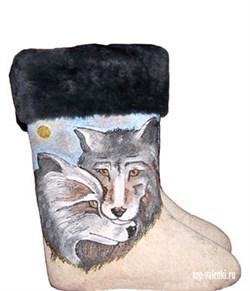 """Валенки мужские с росписью """"Волк и Волчица"""" - фото 6889"""
