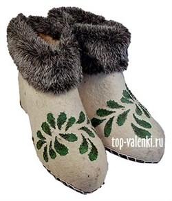 """Женские валяные чуни """"Лепестки"""" - фото 7559"""