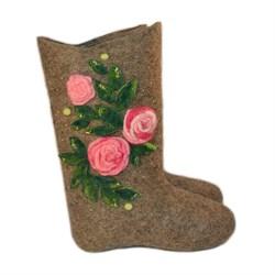 """Дизайнерские валенки женские """"Цветущая роза"""" ручной работы - фото 8366"""