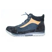 Мужские войлочные ботинки темные с отделкой натуральной замши