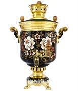 """Самовар на дровах с росписью """"Цветы золото"""" объем - 5 литров, форма банка"""