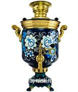"""Самовар на дровах с росписью """"Цветы жостово синие"""" объем - 5 литров, форма банка"""