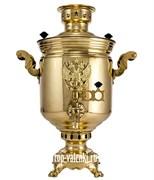 Латунный самовар угольный (жаровой) с гербом России, объем 7 л, форма банка