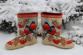 """Дизайнерские валенки с росписью """"Яркие снегири"""""""