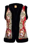 Женский жилет в русском стиле покрытый платком, красный