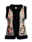 Женский жилет в русском стиле покрытый платком, черный