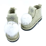 Валеши войлочные на подошве серые со снежинкой и меховой опушкой
