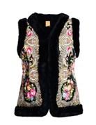 Женский жилет в русском стиле покрытый платком, черный - sale