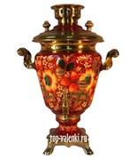 Самовар электрический роспись Цветы(Хохлома), 3л,  форма рюмка
