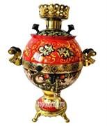 """Самовар электрический, 3 л, форма шар,  роспись """"Калина красная"""""""