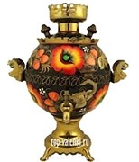 Самовар электрический с цветочной росписью, 3л,  форма шар,