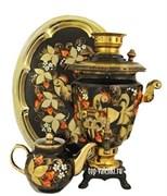 Самовар электрический, 3 л,  форма рюмка,в наборе,  роспись Золотая птица в ночи,   арт. а-000045