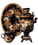 Самовар электрический, 3л,  роспись Цветы золото, в наборе.  арт. 23
