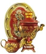Самовар электрический, 2,5 л,  форма груша,в наборе,  роспись Кудрина красная,   арт. а-000115