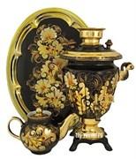 Самовар электрический, 3 л,  форма рюмка,в наборе,  роспись Кудрина золото,  арт. а-000059