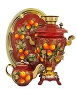 Самовар электрический, 3л,форма рюмка, роспись Яблочный Спас, в наборе,   арт. А-000051