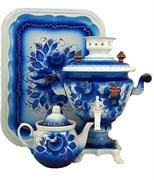 """Тульский самовар в наборе электрический, объем 2 л., форма ваза """" Цветы гжель"""""""