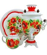 """Тульский самовар электрический, в наборе, объем 3 л., форма желудь """"Алые цветы"""""""