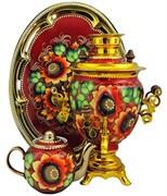 """Электрический тульский самовар в наборе ,объем 3 л., форма желудь, роспись """"Спелые подсолнухи"""""""