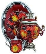 """Электрический тульский самовар в наборе ,объем 3 л., форма шар, роспись """"Поздняя осень"""""""