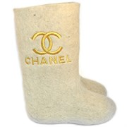 """Валенки женские с вышивкой """"Chanel"""" ручной работы"""