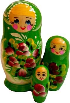 """Матрешка малая 3в1 """"Розы"""" 12см. - фото 10687"""