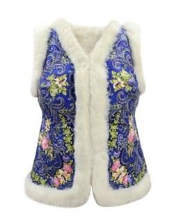 Женский жилет в русском стиле покрытый платком, голубой. Мех белый - фото 10841