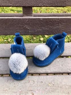 Валенки шитые войлочные на подошве синие с меховой опушкой - фото 11923