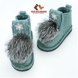 Валеши войлочные на подошве мятные со снежинкой и меховой опушкой чернобурка - фото 12569