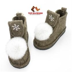 Валеши войлочные на подошве коричневые со снежинкой и меховой опушкой - фото 12579