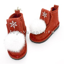 Валеши войлочные на подошве красные со снежинкой и меховой опушкой - фото 12616