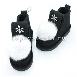 Валеши войлочные на подошве черные со снежинкой и меховой опушкой - фото 12622