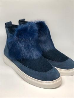 Войлочные полуботинки синие с отделкой натуральной замшей и мехом кролика - фото 12736