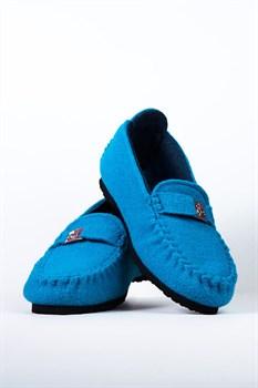 """Войлочные мокасины """"COMO"""" голубые - фото 13093"""