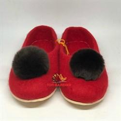 """Цветные валяные тапочки красные """"Асмина"""" на подошве, мех кролик коричневый - sale - фото 13146"""
