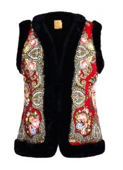 Женский жилет в русском стиле покрытый платком, красный - sale - фото 13218