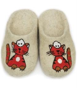 """Детские валяные тапочки ручной работы """"Рыжий кот"""" ручной работы - фото 13377"""