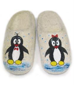 """Детские валяные тапочки ручной работы """"Пингвинчики"""" ручной работы - фото 13422"""